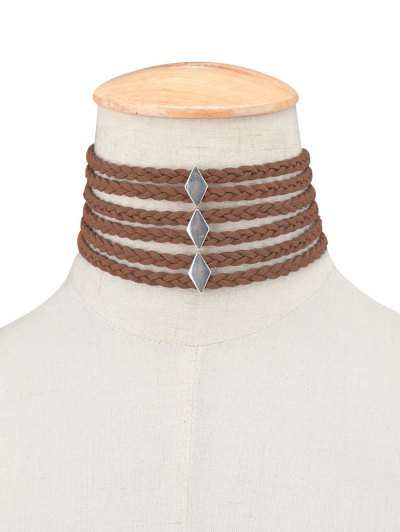 Braid Rope Choker Necklace - BROWN  Mobile