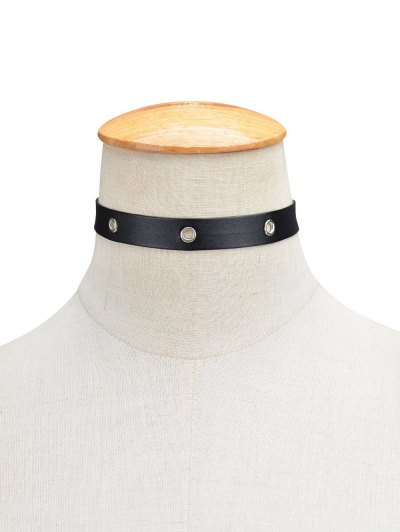 Hollowed Circle Faux Leather Choker Necklace - BLACK  Mobile