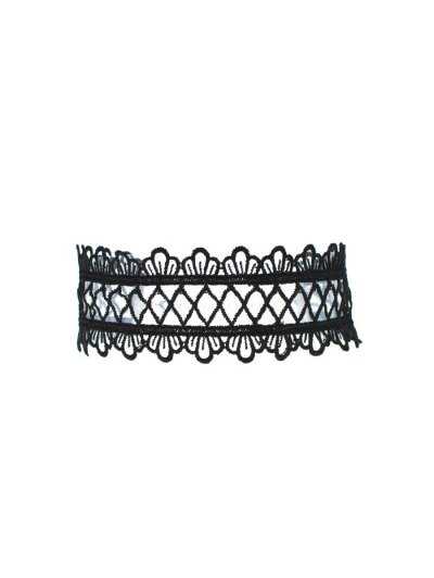 Vintage Lace Crown Geometric Choker - BLACK  Mobile