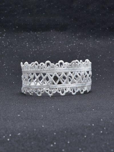 Vintage Lace Crown Geometric Choker - WHITE  Mobile