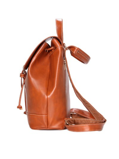 Buckle Strap Backpack With Crossbody Bag - BROWN  Mobile