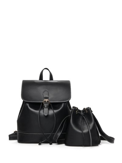 Buckle Strap Backpack With Crossbody Bag - BLACK  Mobile