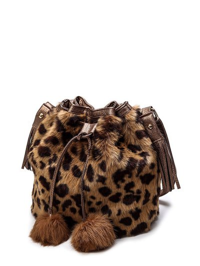 Pompon Leopard Furry Bucket Bag - BROWN  Mobile