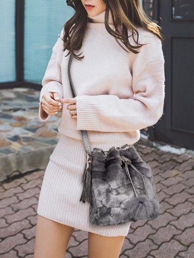 Pompon Tassel Furry Bucket Bag - GRAY  Mobile