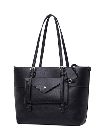 Buckle Strap PU Leather Handbag Set - BLACK  Mobile
