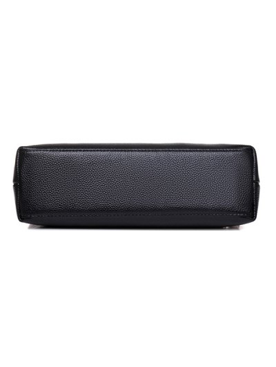 PU Leather Eyelet Tassel Shoulder Bag - BLACK  Mobile
