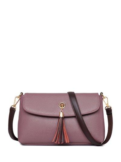 PU Leather Eyelet Tassel Shoulder Bag - PALE PINKISH GREY  Mobile