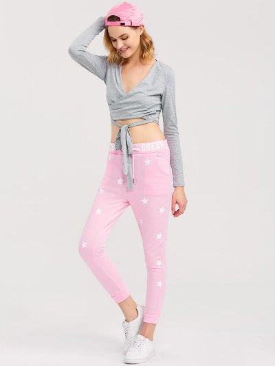 Skinny Star Print Sports Pants - PINK XL Mobile