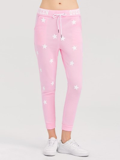 Skinny Star Print Sports Pants - PINK S Mobile