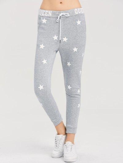 Skinny Star Print Sports Pants - GRAY XL Mobile