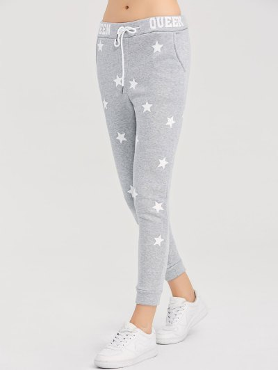 Skinny Star Print Sports Pants - GRAY L Mobile