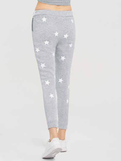 Skinny Star Print Sports Pants - GRAY M Mobile
