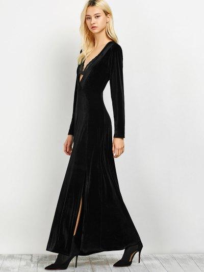 Long Sleeve High Slit A-Line Dress - BLACK L Mobile