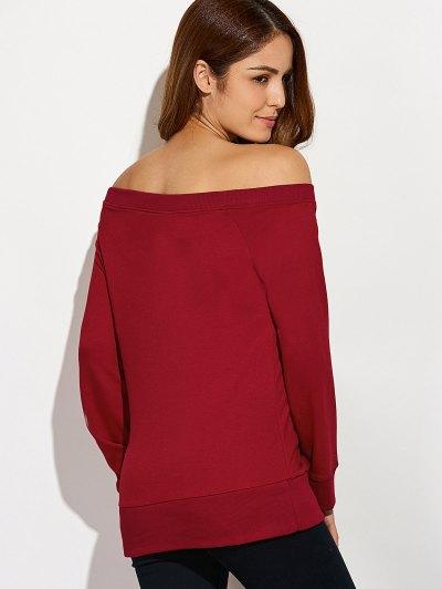 Reindeer Snowflake Christmas Sweatshirt - WINE RED XL Mobile
