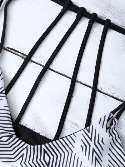 Stripes Strappy Bikini - WHITE AND BLACK M Mobile