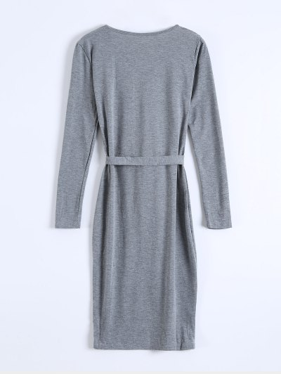 Single-Breasted Belted Bodycon Dress - GRAY S Mobile