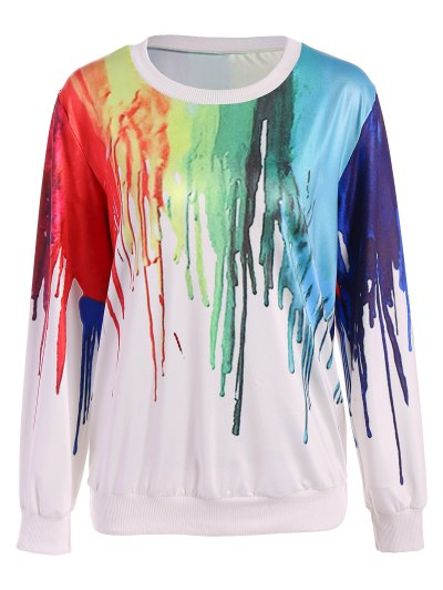 Oversized Splatter Paint Sweatshirt - WHITE ONE SIZE Mobile