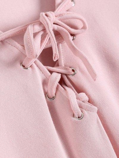 Long Sleeves Asymmetric Hem Tee - PINK XL Mobile