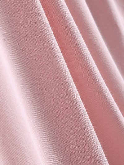Long Sleeves Asymmetric Hem Tee - PINK L Mobile