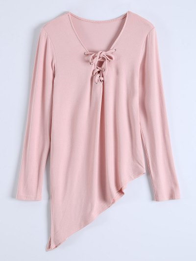 Long Sleeves Asymmetric Hem Tee - PINK M Mobile