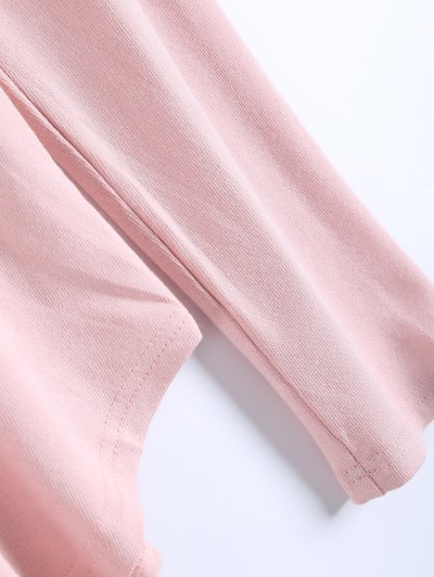 Long Sleeves Asymmetric Hem Tee - PINK S Mobile
