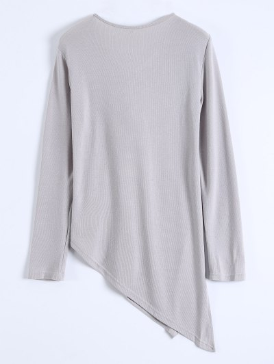 Long Sleeves Asymmetric Hem Tee - GRAY XL Mobile