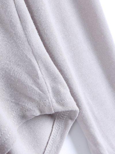 Long Sleeves Asymmetric Hem Tee - GRAY L Mobile