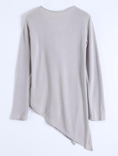 Long Sleeves Asymmetric Hem Tee - GRAY S Mobile