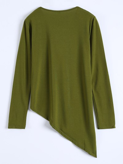 Long Sleeves Asymmetric Hem Tee - ARMY GREEN M Mobile