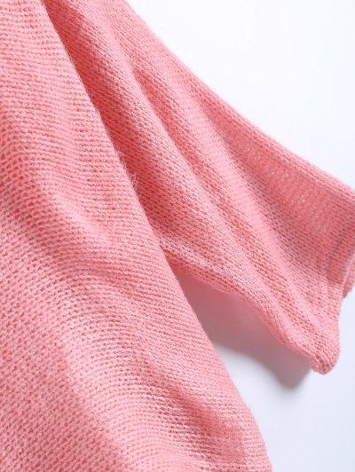 Slash Neck Pullover Sweater - PINK L Mobile