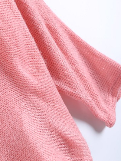 Slash Neck Pullover Sweater - PINK M Mobile