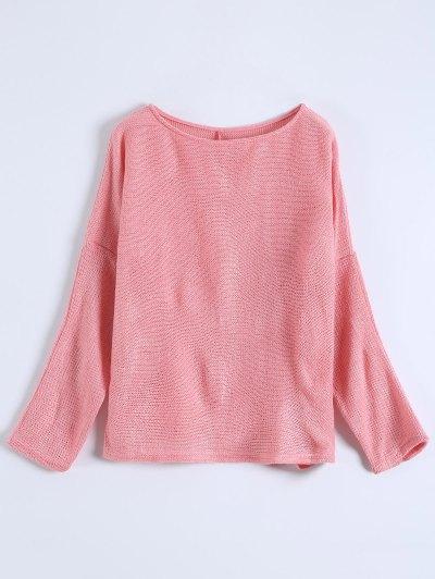 Slash Neck Pullover Sweater - PINK S Mobile