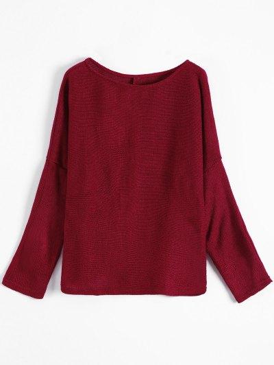 Slash Neck Pullover Sweater - BURGUNDY L Mobile