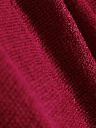 Slash Neck Pullover Sweater - BURGUNDY S Mobile