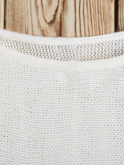 Slash Neck Pullover Sweater - WHITE L Mobile