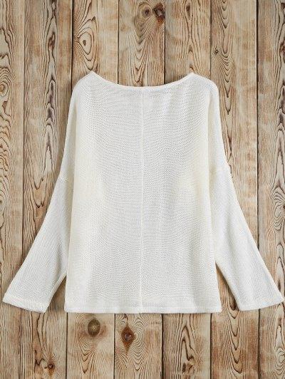 Slash Neck Pullover Sweater - WHITE M Mobile