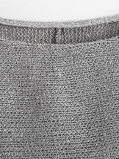 Slash Neck Pullover Sweater - GRAY L Mobile