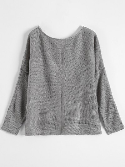 Slash Neck Pullover Sweater - GRAY M Mobile