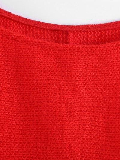 Slash Neck Pullover Sweater - RED XL Mobile