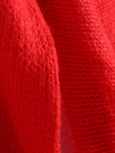 Slash Neck Pullover Sweater - RED M Mobile