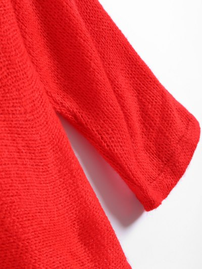 Slash Neck Pullover Sweater - RED S Mobile