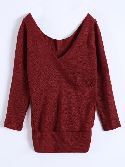 V Neck Cozy Sweater - BURGUNDY L Mobile