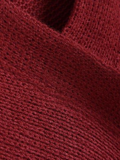 V Neck Cozy Sweater - BURGUNDY M Mobile