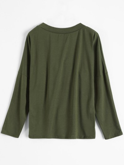 Long Sleeves Lace Up Plunge Tee - ARMY GREEN L Mobile