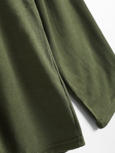 Long Sleeves Lace Up Plunge Tee - ARMY GREEN S Mobile