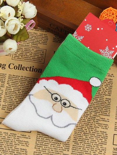 Pair of Santa Clau Jacquard Knitted Socks - WHITE  Mobile