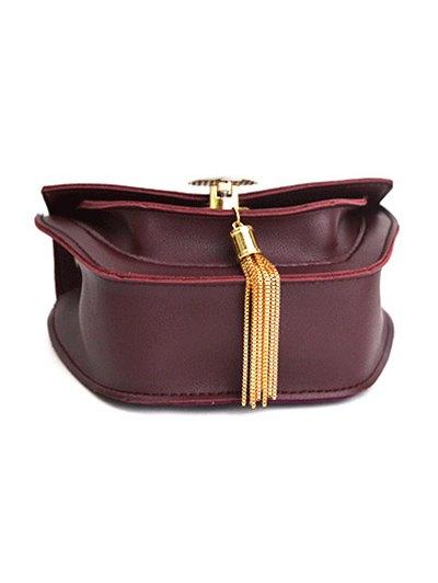 Suede Panel Metallic Tassel Crossbody Bag - WINE RED  Mobile