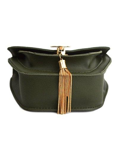 Suede Panel Metallic Tassel Crossbody Bag - GREEN  Mobile