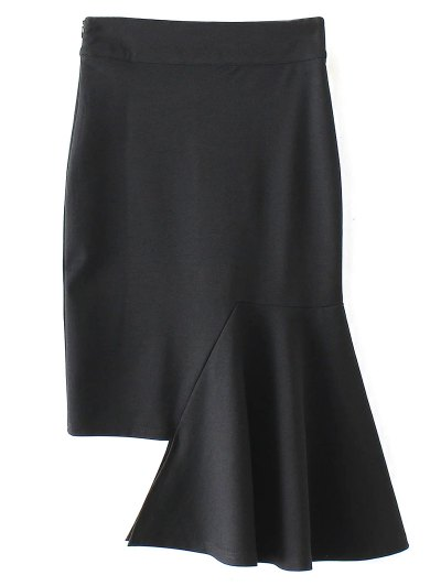 Asymmetric Trumpet Skirt - BLACK L Mobile