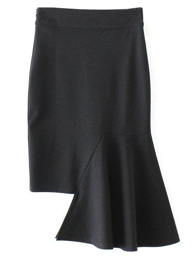 Asymmetric Trumpet Skirt - BLACK M Mobile